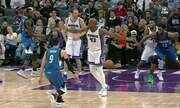 Ricky Rubio, Minnesota, faz a assistência da noite, por baixo das pernas, na rodada da NBA