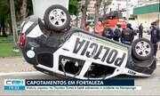 Viatura da PM capota no Dionísio Torres e bebê sai ileso de acidente na Maraponga