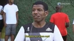 Bicampeão olímpico Haile Gebrselassie corre com fãs na Lagoa Rodrigo de Freitas
