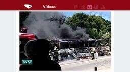 Ônibus do Transcol pega fogo na Rodovia José Sette, em Cariacica
