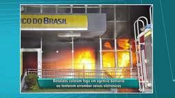 Ladrões tentam arrombar caixas eletrônicos e incendeiam agência