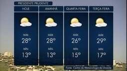 Máxima pode chegar aos 28º C em Pres. Prudente