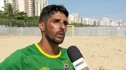 Santos recebe Campeonato Brasileiro de futebol de areia e jogadores querem vaga na Seleção