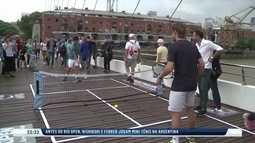 Tenistas promovem ATP de Buenos Aires jogando no meio da rua na capital argentina