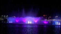 Fonte luminosa do Parque das Águas passa por testes antes de ser inaugurada