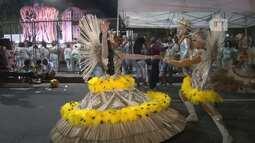 Mestre-sala e porta-bandeira da Império Serrano saem vestidos de onças na avenida