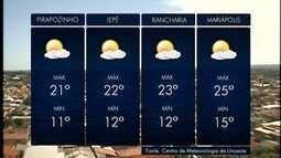 Máxima em Pres. Prudente não deve passar dos 24º C