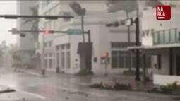 """Vídeos enviados pelo """"Na Rua GloboNews"""" mostram estragos do Irma, na Flórida"""