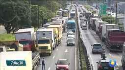 Protesto dos caminhoneiros deixa trânsito complicado em ponto da Grande João Pessoa