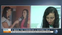 Gari que passou no vestibular para biomedicina participa do 'Encontro com Fátima'