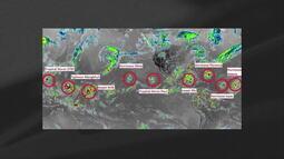 Satélite mostra 9 tormentas se formando simultaneamente
