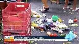 Restos de frutas e verduras deixam ruas sujas em feira de Juazeiro do Norte