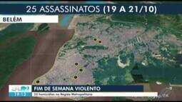 Vinte e cinco pessoas foram assassinadas no último fim de semana na Grande Belém