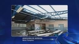Chuva forte com ventania destelha escola municipal em Nova Campina