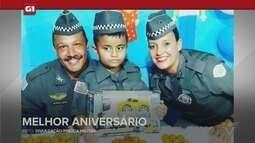 G1 em 1 Minuto - Santos: Menino ganha farda e presença de PMs em festa de 8 anos