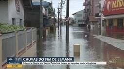 Chuva forte provocou estragos em cidades do Litoral e Norte de SC