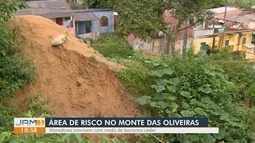Moradores do Monte das Oliveiras vivem com medo de barranco ceder