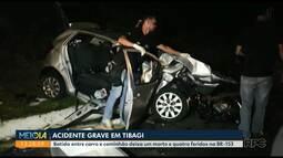 Batida entre carro e caminhão deixa um morto e quatro feridos na BR-153