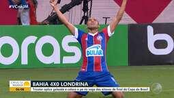 Bahia goleia o Londrina e fica perto das oitavas de final pela Copa do Brasil