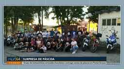 Grupo de motociclistas entrega 200 cestas de Páscoa para crianças em Ponta Grossa