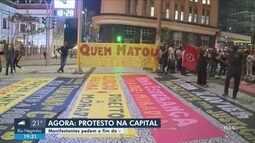 Manifestantes protestam contra violência policial em Florianópolis
