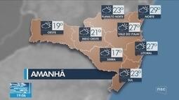 Veja como ficará o tempo em todas as regiões de SC nesta quarta-feira (19)