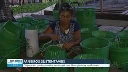 Mãe usa criatividade e sustenta oito filhos com venda de paneiros feitos de reciclagem