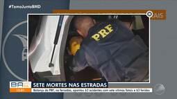 Polícia Rodoviária Federal registra 63 acidentes e sete mortes durante o feriadão