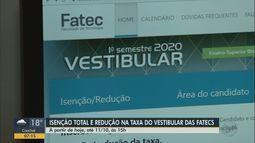Candidatos podem solicitar isenção ou redução de 50% na taxa do vestibular das Fatecs