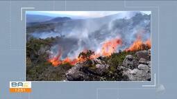 Incêndio já destruiu área de mais de 600 hectares entre Rio de Contas e Livramento