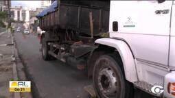 Caminhão quebrado atrapalha trânsito na Ladeira da Catedral