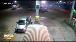 Câmeras de segurança registram assalto em posto de combustível de Tucumã, no PA