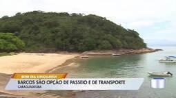 Barcos são opção de passeio e transporte no litoral