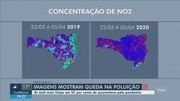 Imagem de satélite mostra queda da poluição durante isolamento social