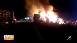 Dois acidentes entre caminhões são registrados no interior do CE