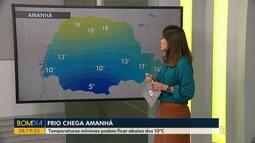 Frio deve chegar amanhã ao Paraná