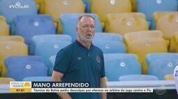Técnico Mano Menezes pede desculpas por ofender árbitro em jogo contra o Fluminense
