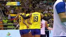 1º set: Com belo contra-ataque de Margarita, a Colômbia vira o placar e a torcida enlouquece. 3 x 4