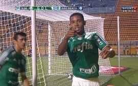 Gol do Palmeiras! Robinho dá ótimo passe para Gabriel Jesus marcar, aos 5 do 1º tempo