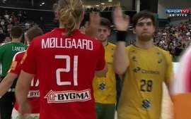 Momentos finais de Brasil 26 x 26 Dinamarca no amistoso internacional de handebol