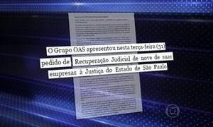 OAS apresenta um pedido de recuperação judicial à Justiça de SP