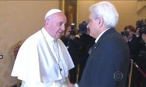 Papa recebe o presidente da Itália, eleito há pouco mais de dois meses