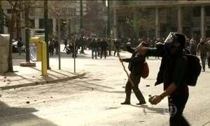 Manifestantes fazem protesto na Grécia