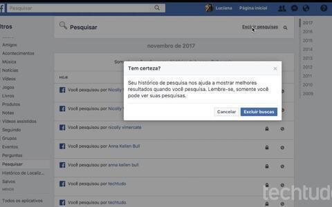 Como apagar seu histórico de pesquisas no Facebook