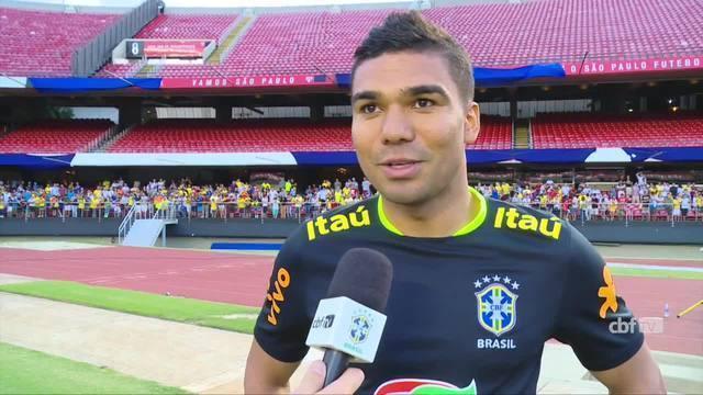 Casemiro festeja retorno ao Morumbi pela seleção brasileira