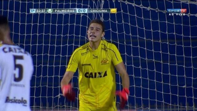 Zaga do Criciúma sai jogando errado, Palmeiras rouba e quase marca