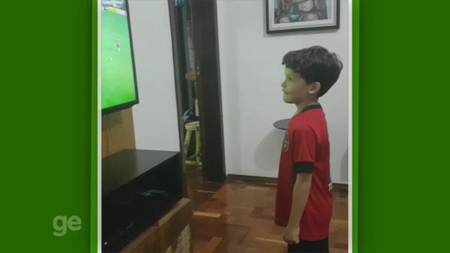 Pequeno torcedor mineiro se encanta pelo Brasil de Pelotas