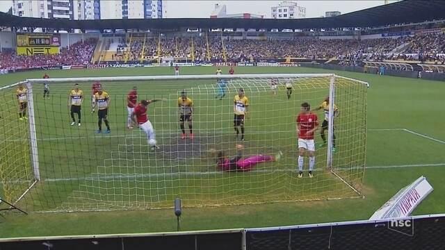 Em jogo de polêmicas, Criciúma perde para o Inter e fica distante do G-4