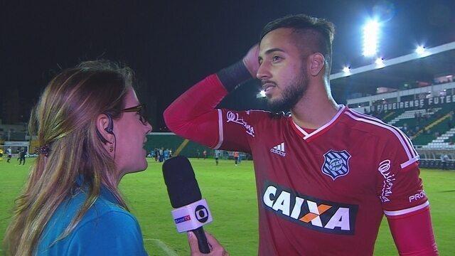 """Alisson fala sobre estreia pelo Figueira: """"Deu para deixar uma boa impressão"""""""