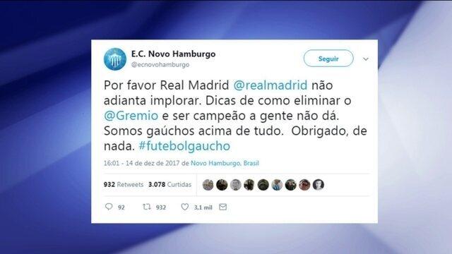 Campeão Gaúcho, Novo Hamburgo diz em rede social que não dá dicas para Real Bater o Grêmio